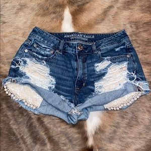 AEO Destroyed Lace Shorts